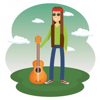 ギターを持つヒッピー男