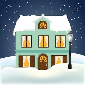 Зима и постройки
