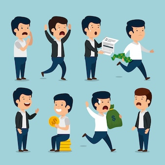 Установите бизнесменов с инвойсом валюты и монет