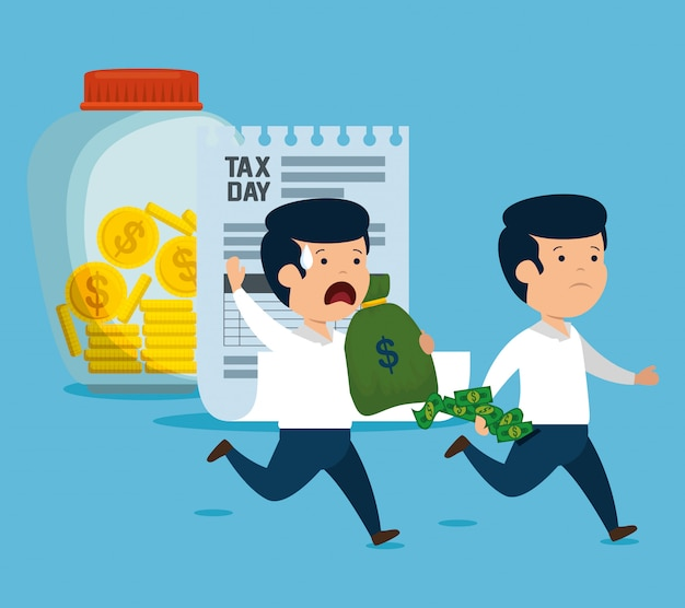 お金の通貨とサービス税の男性