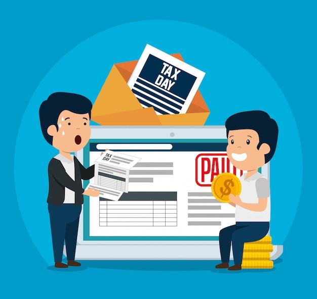 Мужчины с налогом на бизнес-услуги и планшетом