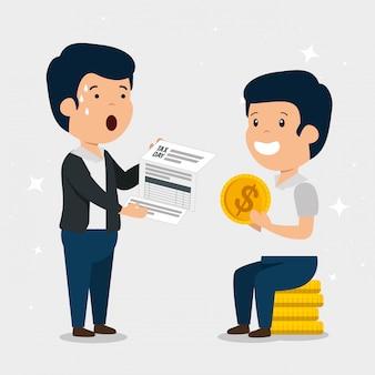 金融サービス税とコインを持つ男性