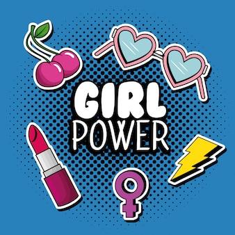 女の子の力のメッセージとファッションポップアート