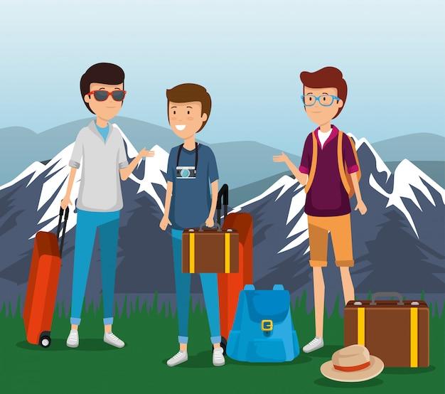 Мужчины турист с чемоданом и багажом в путешествие
