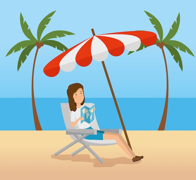 ビーチで傘を持つ女性の椅子