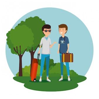 旅行するスーツケースと荷物を持つ男性の観光客