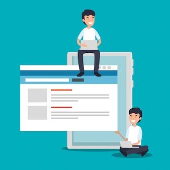タブレット技術とウェブサイト情報を持つ男性