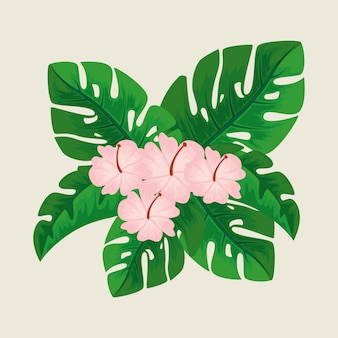 Милые цветы с лепестками и натуральными листьями
