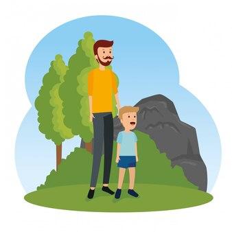 彼の息子と茂みの木と男の父
