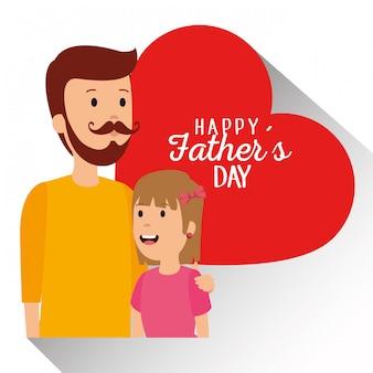 Человек с дочерью и карточкой отцов сердца