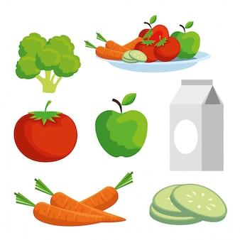 Установите овощи и фрукты для здорового образа жизни