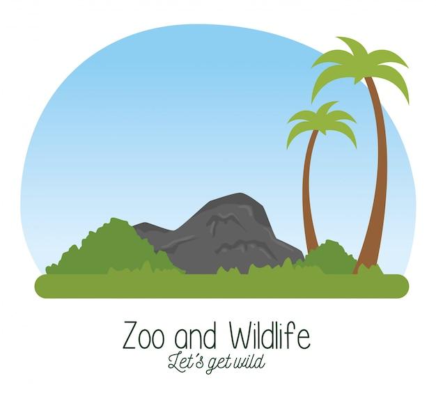 ヤシの木と茂みのある自然保護区の野生動物