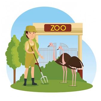 サファリの男と動物園のダチョウの野生動物
