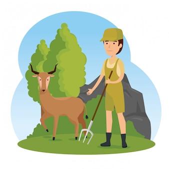 サファリの男と鹿の野生動物