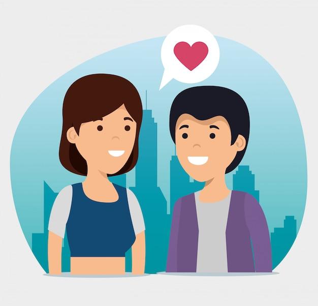 ハートチャットバブルと女の子と男の子の関係