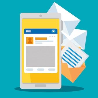 ソーシャルチャットプロファイルメッセージ付きのスマートフォン