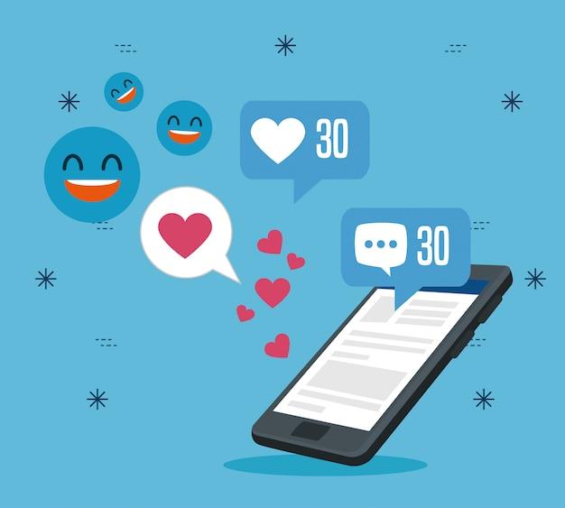 Технология смартфона с сообщением в социальном профиле