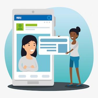 女の子プロフィールソーシャルチャットバブルメッセージ