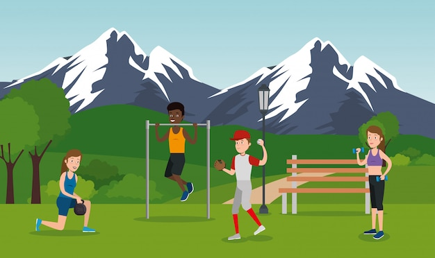 公園でスポーツを練習する運動選手のグループ