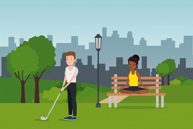 公園でスポーツを練習する選手のカップル