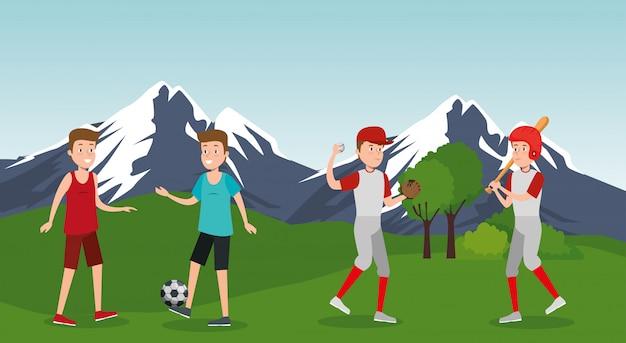 Группа спортсменов, занимающихся спортом в парке
