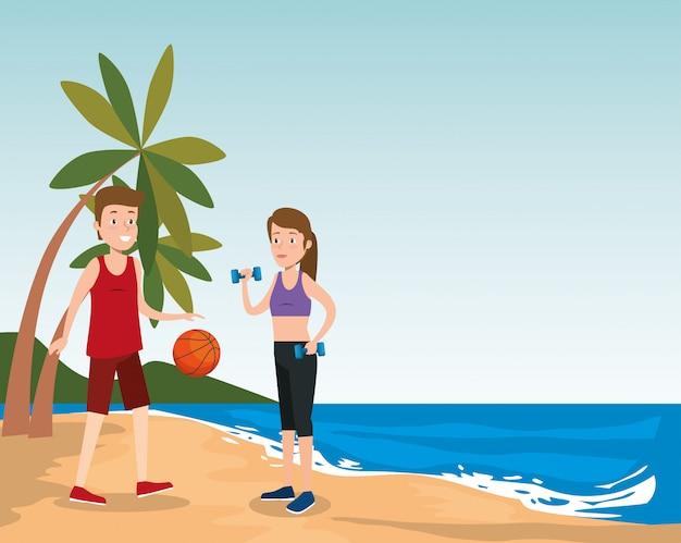 ビーチでスポーツを練習する運動選手のグループ