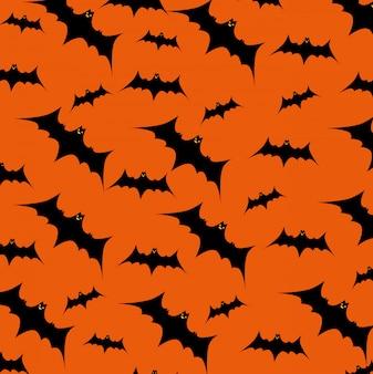 パターンを飛んでいるコウモリとハロウィーンカード