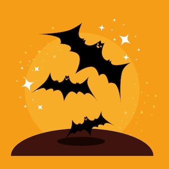 Открытка на хэллоуин с летающими летучими мышами