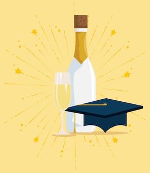 幸せなお祝いにシャンパンと卒業キャップ