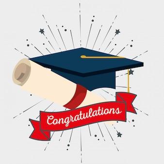 卒業イベントへのリボン付き卒業キャップ