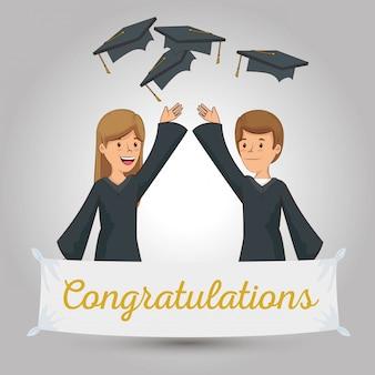 イベントのお祝いに幸せな人々の卒業