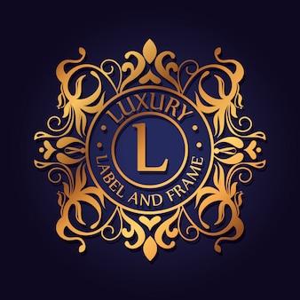 Круглый роскошный логотип с орнаментом