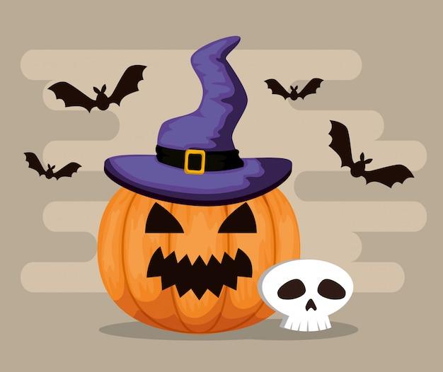 Счастливый хэллоуин с тыквой и шляпой ведьмы