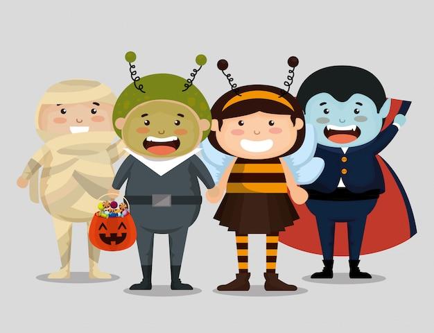 ハロウィーンを着た子供たちのグループ