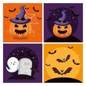 Счастливый хэллоуин с множеством