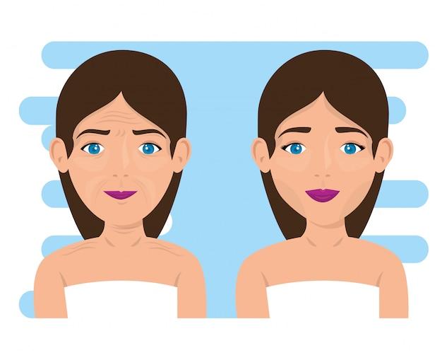 Женщина до и после лечения кожи