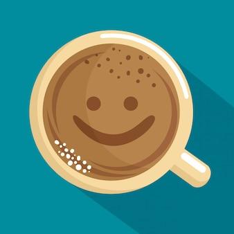 顔とおいしいコーヒーカップ
