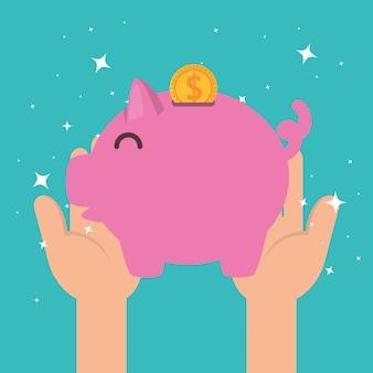 慈善寄付のための貯金箱を持つ手