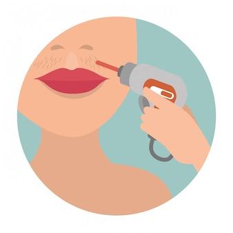 脱毛装置を持つ女性