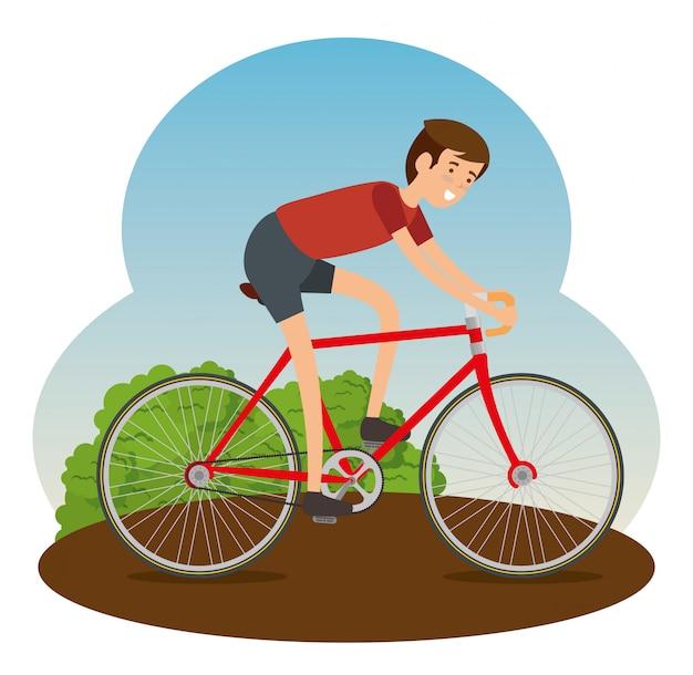 Человек ехал на велосипеде, чтобы делать упражнения