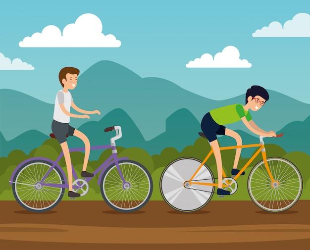 Мужчины друзья, езда на велосипеде