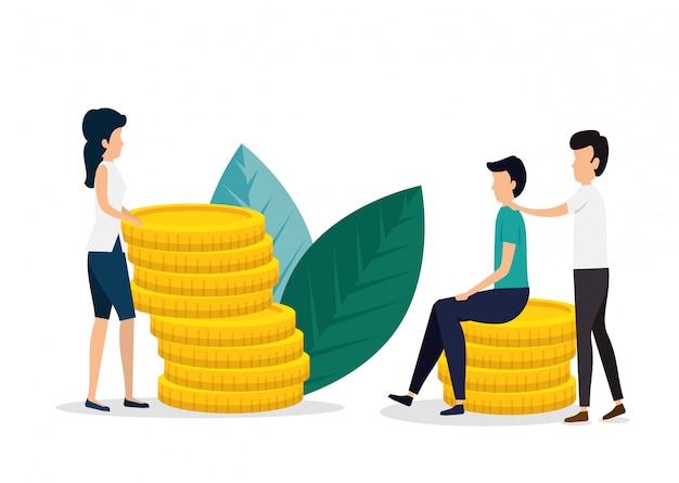 コインと葉を持つ女と男のチームワーク