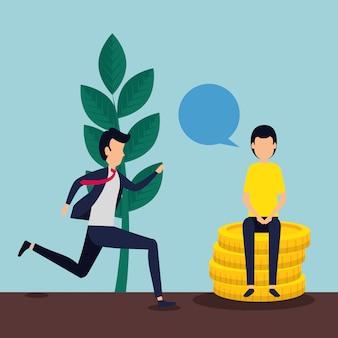 男性ビジネスチームワークコインとチャットバブル