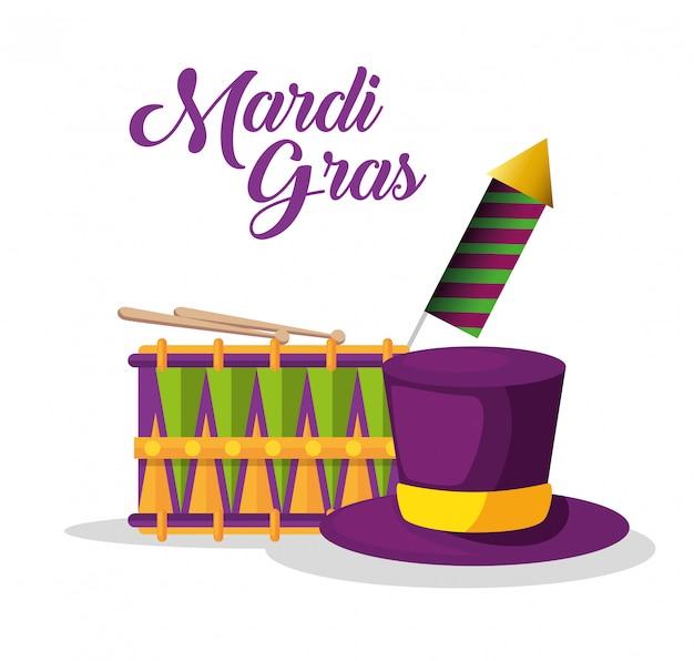 ドラムと帽子、マルディグラのお祝い