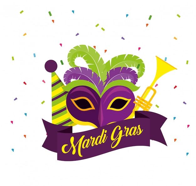 マスクとトランペットでマルディグラのお祝い