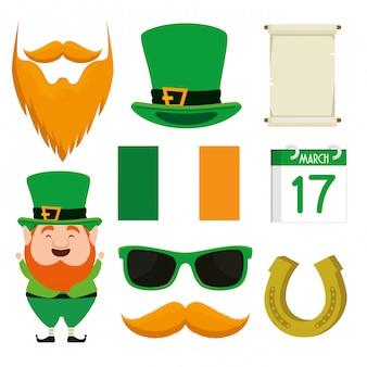 Комплект шапки святого патрика с бородой для торжества
