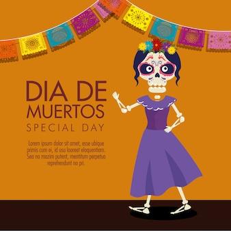 Катрина с цветами прическа и платье, чтобы отпраздновать день мертвых