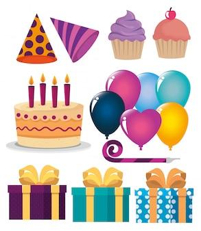 パーティーのお祝いに幸せな誕生日の装飾のセット