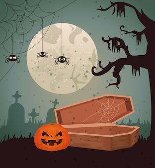 Хэллоуин дизайн над кладбищем