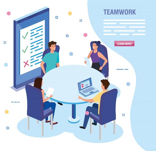 Работа в команде людей на встрече аватара персонажа шаблона
